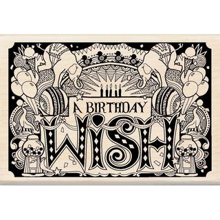 Inkadinkado Mounted Rubber Stamp 4 X2.75 - Patterned Happy Birthday