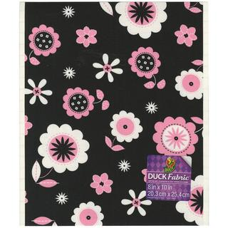 Fabric Sheet 8 X10 - Pink And Black Floral