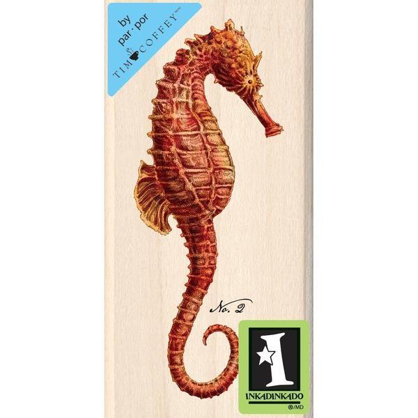 Inkadinkado Mounted Rubber Stamp 1.75 X3.5 - Red Seahorse