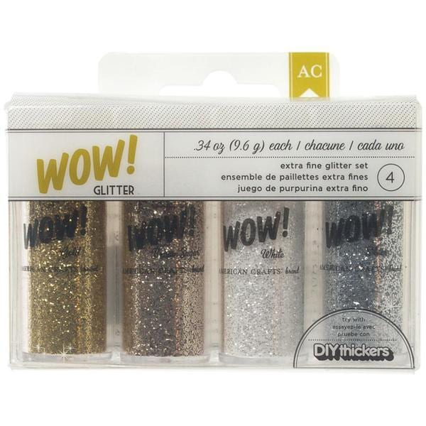 DIY Shop WOW! Extra Fine Glitter .34oz 4/Pkg - Silver, Gold, Brown Sugar & White