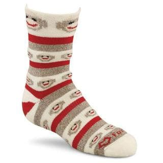 Red Heel Crew Monkey Stripe Socks 1pr/Pkg - Size Small Brown