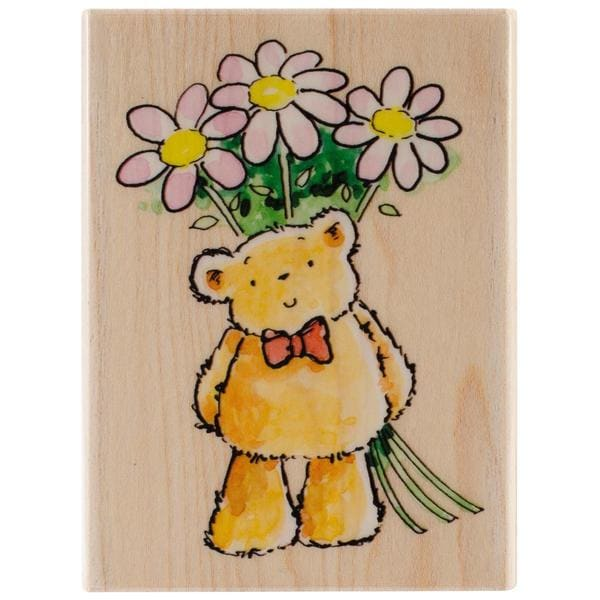 Penny Black Mounted Rubber Stamp 3.25 X2.25 - Flower Bear