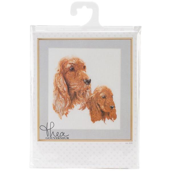 Spaniels On Linen Counted Cross Stitch Kit - 11-3/4 X15-3/4 24 Count