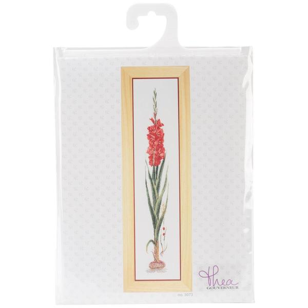 Red Gladioli On Linen Counted Cross Stitch Kit - 8 X34-1/2 36 Count