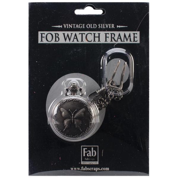 Old Silver No Mechanism FOB Watch W/Chain Embellishment - Medium