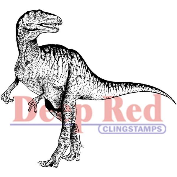 Deep Red Cling Stamp 3 X3 - Raptor Dinosaur