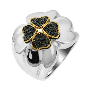 Sonia Bitton 14k Gold/ Sterling Silver 1/3ct TDW Black Diamond Four Leaf Clover Ring
