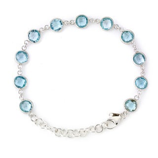 Soho Boutique by Neda Behnam Sterling Silver 7-inch Blue Topaz Station Bracelet with 2-inch extension