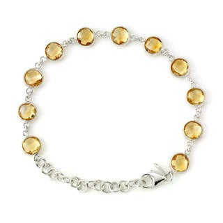 Soho Boutique by Neda Behnam 7-inch Sterling Silver Citrine Station Bracelet with 2-inch extension