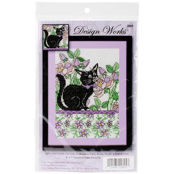 Lilac Floral Cat Counted Cross Stitch Kit - 5 X7 14 Count