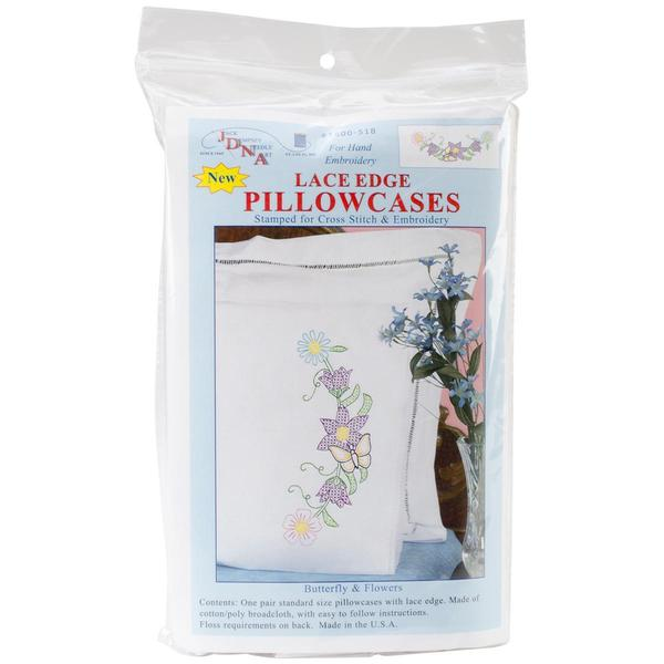 Stamped Pillowcases With White Lace Edge 2/Pkg - Butterfly & Flowers