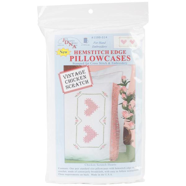 Stamped Pillowcases With Hemstitched Edge 2/Pkg - Chicken Scratch Hearts