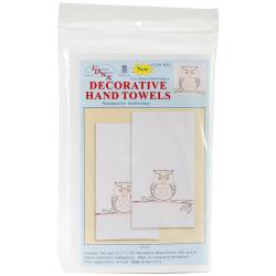 Stamped White Decorative Hand Towel 17 X28 One Pair - Owl