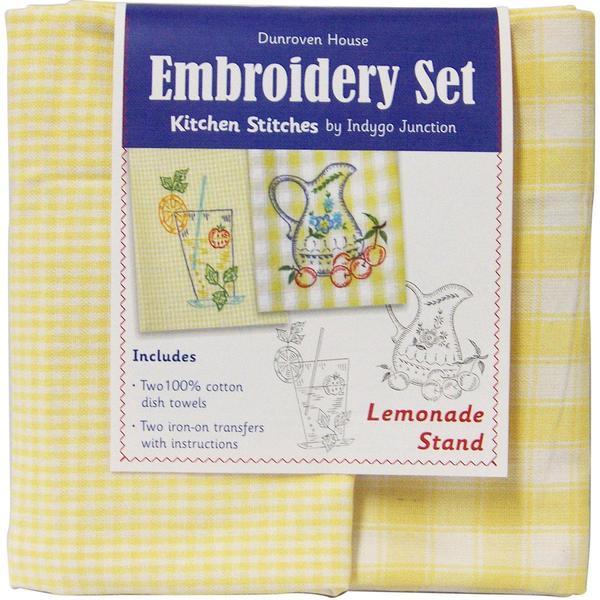Lemonade Stand Kitchen Stitches Embroidery Set - Yellow & White Check