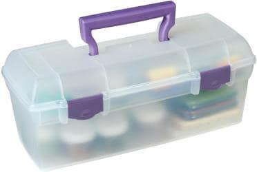 ArtBin Essentials Lift Out Box W/Handle - 13 X6 X5.625 Translucent W/Purple