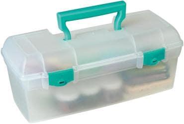 ArtBin Essentials Lift Out Box W/Handle - 13 X6 X5.625 Translucent W/Teal