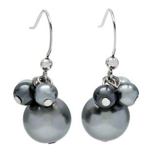Alexa Starr Grey Cluster Top Faux Pearl Drop Earrings