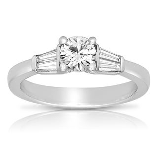 Eloquence 18k White Gold 4/5ct TDW Certified Diamond Engagement Ring (H-I, VVS1-VVS2)