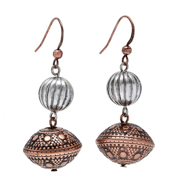 Alexa Starr Double Drop Burnished Silver and Copper Textured Bead Earrings