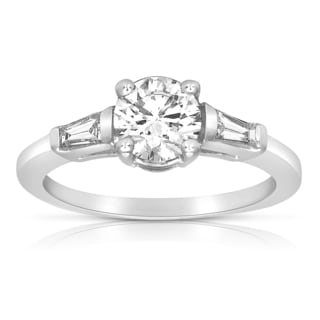 18k White Gold 1ct TDW Certified Round and Baguette Diamond Engagement Ring (H-I, SI1-SI2)