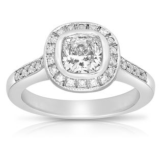Platinum 1 1/5ct TDW Certified Cushion-cut Diamond Engagement Ring (G-H, VS1-VS2)