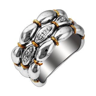 Sonia Bitton 14k Gold over Sterling Silver Diamond Multi-row Textured Ring (H-I, SI1-SI2)