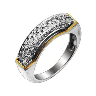 Sonia Bitton 14k Gold over Sterling Silver Diamond Two-tone Pave Ring (H-I, SI1-SI2)