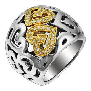 Sonia Bitton 14k Gold and Sterling Silver Diamond Two-tone Heart Ring (H-I, SI1-SI2)