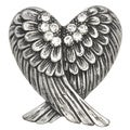 Kate Marie Fashion Jewelry Angel Wing Rhinestone Adjustable Ring