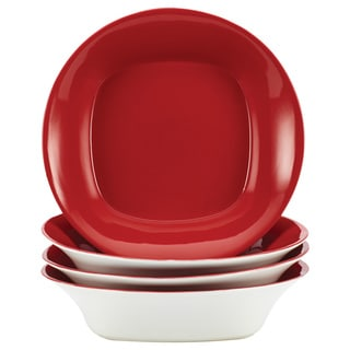 Rachael Ray Round/Square Red 4-piece Stoneware Bowl Set