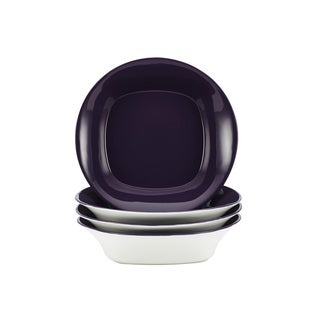 Rachael Ray Round/Square Purple 4-piece Stoneware Bowl Set