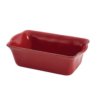 Rachael Ray Cucina Stoneware 9 x 5-inch Cranberry Red Loaf Pan
