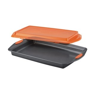Rachael Ray Grey/ Orange Nonstick Bakeware 10-inch by 15-inch Covered Cookie Pan