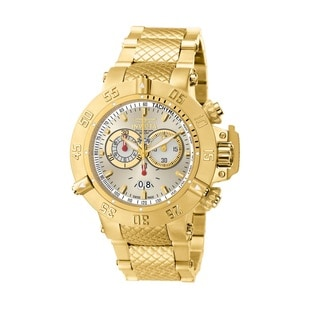 Invicta Men's 5406 'Subaqua' Silvertone Dial 18k Goldplated Stainless Steel Chronograph Watch