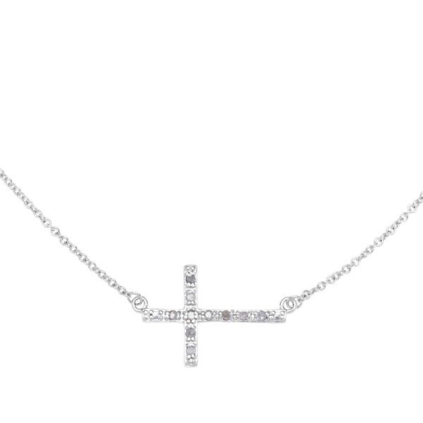 Sterling Silver Plated 1/10ct TDW White Diamond Sideways Cross Necklace (J-K, I2-I3)