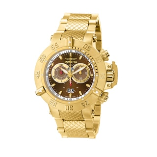 Invicta Men's IN5405 'Subaqua' Brown Dial 18k Goldplated Stainless Steel Chronograph Watch