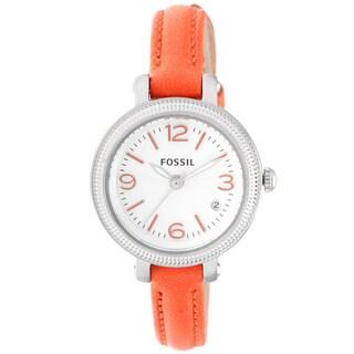 Fossil Women's 'Heather' Orange Leather Skinny Strap Watch