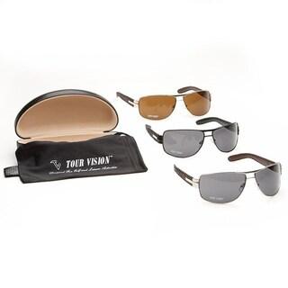 Tour Vision 'Sleek Aviator' Black/ Brown Sunglasses