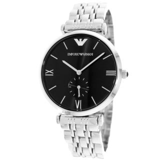 Emporio Armani Men's Retro AR1676 Silver Stainless-Steel Quartz Watch with Black Dial