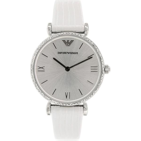 Armani Women's AR1680 Round Retro White Leather Watch
