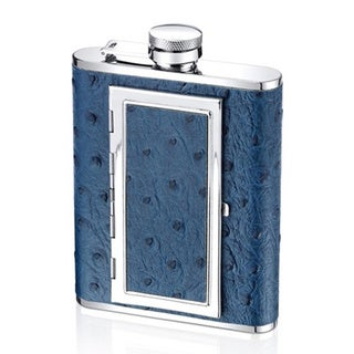 6-ounce Blue Ostrich Leather Flask and Cigarette Case