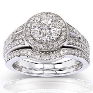 Annello 14k White Gold 1ct TDW Baguette and Round-cut Diamond 2-piece Bridal Rings Set (H-I, I1-I2)