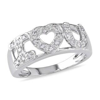 Miadora 14k White Gold 1/6ct TDW Diamond Heart Ring (H-I, I1-I2)