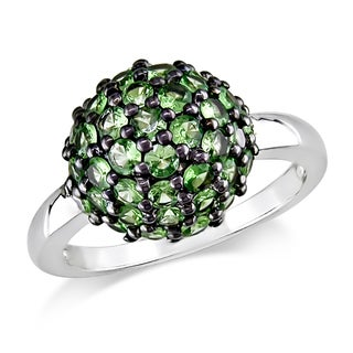 Miadora Sterling Silver Green Tsavorite Ring