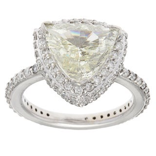 14k White Gold 4ct TDW Trillion-cut Diamond Band Estate Engagement Ring (L-M, SI1-SI2)