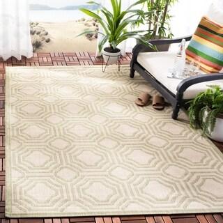 Safavieh Indoor/ Outdoor Courtyard Beige/ Sweet Pea Rug (4' x 5'7)