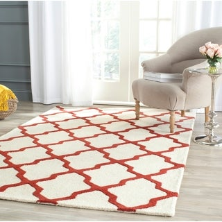 Safavieh Handmade Moroccan Cambridge Ivory/ Rust Wool Rug (4' x 6')
