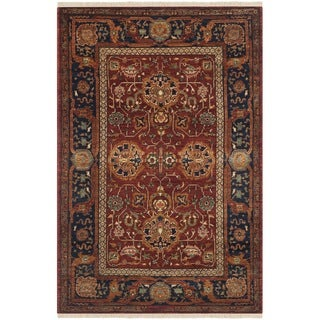 Safavieh Hand-knotted Peshawar Vegetable Dye Red/ Navy Wool Rug (4' x 6')