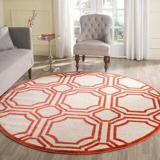 Safavieh Amherst Indoor/ Outdoor Ivory/ Orange Rug (7' Round)