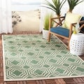 Safavieh Indoor/ Outdoor Moroccan Courtyard Dark Green/ Beige Rug (8' x 11')